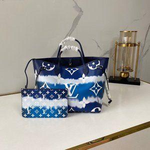 Louis Vuitton Escale Neverfull Mm Tote Bag Blue